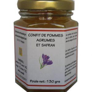Confit de pommes et agrumes au safran